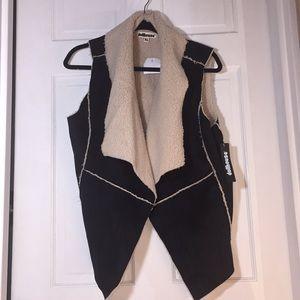 NWT Dollhouse Faux Suede & Shearling Black Vest